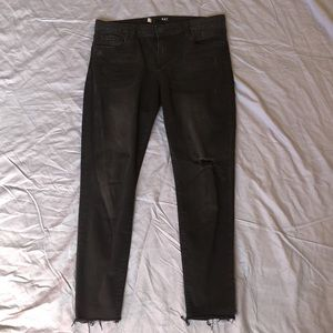 Kut Connie Black Distressed Ankle-length Jeggings